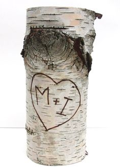 One medium birch bark vase with free engraving Natural by bettula