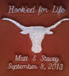 Hooked For Life Wedding Texas Longhorn Can Koozie by SpecialtyKooziesEtc, $6.99
