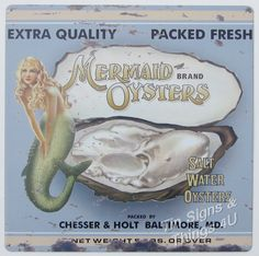 12in Mermaid Oysters TIN SIGN vtg seafood ad metal wall art restaurant decor OHW