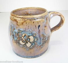 Wheel-Thrown Mug w Hand Made Floral Wax Resist Design SIGNED