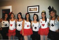 DIY Girls group costume--  3rd group costume my girls and I have done. This year was 'deck of cards'. We chose to alternate the colours and pick our favourite numbers and suites. We even had one of our girls expecting so naturally we gave her the '2 of hearts' ha ha  So easy to do !