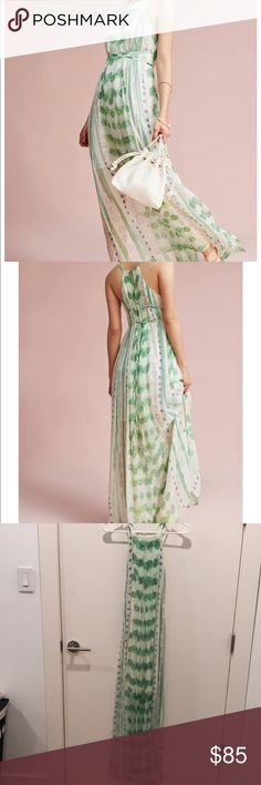 NWT, Anthropologie Vera Silk Maxi Dress, Size S A garden inspired pastel print ready silk maxi. True to size. New with tags.  - silk - maxi - button back - dry clean Anthropologie Dresses Maxi