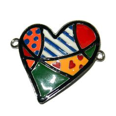 Enamel Patchwork Quilt and Silver Heart by CloudNineSupplyShop