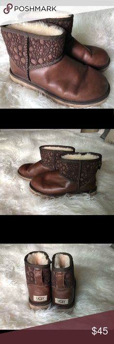 UGG Classic Mini Leather Boots EUC Uggs Mini Boots. Leather with crochet accent. Dark brown, size 7 UGG Shoes Ankle Boots & Booties