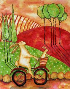 Rabbit Folk Art Painting | ... Painting - Hubbs Children Art Folk Prints Whimsical Rabbit Bunny Bike
