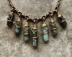 Crystal Necklace / Labradorite / Statement Necklace / Wire Wrap Crystal /Bib Necklace / Rustic Jewelry DanielleRosebean / Healing Crystal