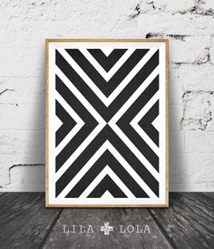 Geometric Print Black and White Decor Cross Wall Art by lilandlola