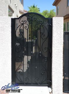 Scrolled Wrought Iron Single Gate with privacy screen Side Gates, Front Gates, Entrance Gates, Yard Gates, Wrought Iron Decor, Wrought Iron Fences, Tor Design, Gate Design, Metal Garden Gates