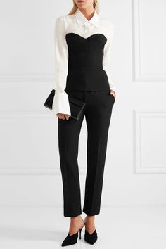 Off-white washed-silk Partially concealed button fastenings through front 100%…