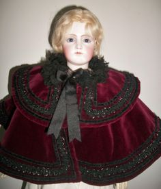 Lovely Burgundy Velvet Fashion Doll Cape w Beaded Trim