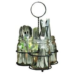 """Bring a country-chic touch to brunches or barbecues with this charming flatware caddy, featuring a twisting metal framework and 3 glass mason jar-inspired compartments.   Product: Flatware caddyConstruction Material: Glass and metalColor: Black and clear  Dimensions: 14"""" H x 10"""" Diameter (overall)Note:SilverwareFlatwareand Care:Hand wash with warm soap and water"""