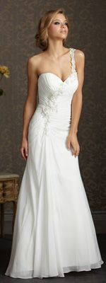 White & Silver Ruched Chiffon Floral One Shoulder Sweetheart Wedding Gown