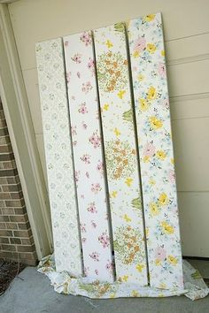 fabric covered shelves.