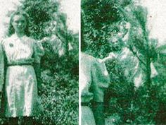 The Wedding Day ghost photo, taken in 1942 in Jasper, Alabama. The picture was taken to commemorate the wedding day of the woman in the photo. This is one grumpy spirit.