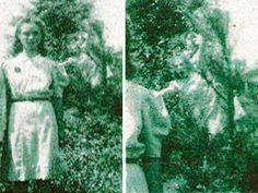 The Wedding Day ghost photo, taken in 1942 in Jasper, Alabama. The picture was taken to commemorate the wedding day of the woman in the photo. This is one grumpy spirit.