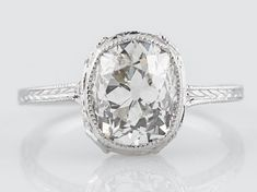 Filigree Jewelers :: Antique Engagement Ring Art Deco 2.10 Cushion Cut Diamond in 14k White Gold