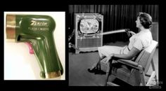 Flash-Matic Remote, the first remote control used light beams. Unfortunately sometimes sunlight would turn the channel on these TV sets!