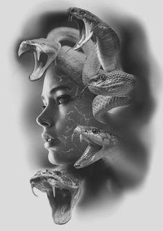 Lion Head Tattoos, Leg Tattoos, Tattoo On, Tiger Tattoo, Medusa Tattoo Design, Tattoo Designs, Mago Tattoo, Girl Face Tattoo, Blackout Tattoo