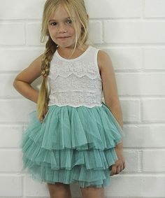 Another great find on #zulily! Aqua Lace & Tulle Tutu Dress - Toddler & Girls #zulilyfinds