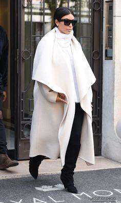 Kim and Kanye leaving Hôtel Le Royal Monceau in Paris, France Love her coat!