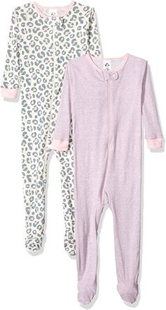 Amazon.com  Gerber Baby Girls  2-Pack Footed Unionsuit 8e1795600