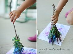 Or paint with leaves. | 27 Ideas For Kids Artwork You Might Actually Want To Hang