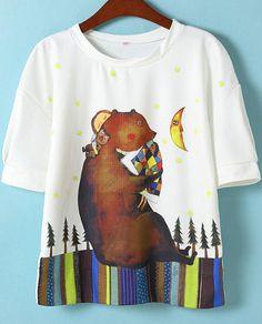 this bear print is so sweet ...  White Short Sleeve Bear Stars Print T-Shirt 17.50