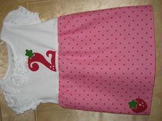 Strawberry Shortcake Birthday Dress.  Used this website to make it:  http://waldeckdrygoods.blogspot.com/2009/02/t-shirt-dress-tutorial.html  This is so cute and would be perfect for Brynn's 2nd bday!!