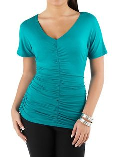 dots: V-Neck Rouched Front and Sides Top