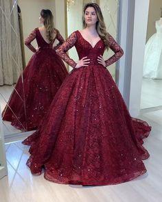 Princess Prom Dresses, V Neck Prom Dresses, Indian Gowns Dresses, Prom Dresses Long With Sleeves, Wedding Dresses For Girls, Bridal Dresses, Ball Gowns Evening, Evening Dresses, Long Sleeve Gown