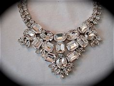Emerald Cut Statement Necklace Swarovski Bridal by TheCrystalRose, $300.00