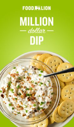 Million dollar dip contains only five ingredients and takes five minutes to mix up. Appetizer Dips, Yummy Appetizers, Appetizer Recipes, Snack Recipes, Cooking Recipes, Great Recipes, Favorite Recipes, Good Food, Yummy Food