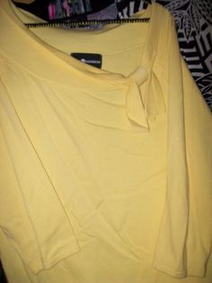 Sag Harbor Size L 100% Cotton Yellow 3-4 Sleeve Top bust 21-26 L20 #SagHarbor #Blouse