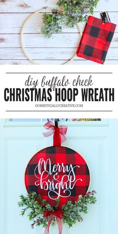 Diy christmas wreaths 270145677634127308 - Brighten up your front door for the holidays with this easy to make DIY Christmas Buffalo Check Hoop Wreath that features a glittery Merry and Bright hand lettered focus! Rustic Christmas, Christmas Holidays, Christmas Ornaments, Christmas Ideas, Christmas Music, Christmas Movies, Christmas Plaid Decorations, Diy Christmas Projects, Diy Christmas Home Decor