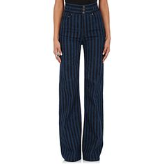 Marc Jacobs Women's Striped Wide-Leg Jeans (€370) ❤ liked on Polyvore featuring jeans, marc jacobs jeans, wide leg jeans, 5 pocket jeans, zipper jeans and blue jeans