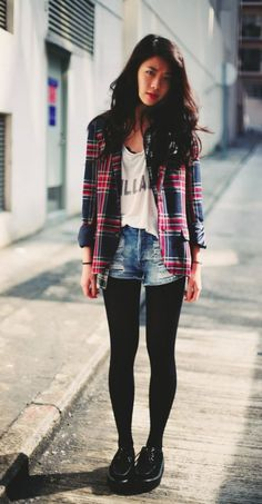 distressed shorts with tights