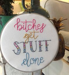 This hoop is the perfect gift for the girl boss in your life. Maybe its you, maybe its a new graduate or someone entering the work force. No matter who it is, its the perfect reminder that you have to be a presence in the world.  D E S C R I P T I O N  *100% Cotton Fabric *Hand Lettering *Backed with Batting *Cotton Thread *7 inch Sunbleached Stained Hoop  P R O C E S S I N G | T I M E  • The processing time to create each handmade piece is 1-2 weeks. This time does NOT include shipping • If…