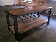 Reclaimed Wood Kitchen Island | Kitchen Island Made Of Reclaimed Oak With  Steel Base And Casters