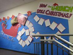 Bulletin Board-students wrote letters to Santa Grinch Bulletin Board, Door Bulletin Boards, Preschool Bulletin Boards, Classroom Decor, Bullentin Boards, Christmas Worksheets, Christmas Activities, Christmas Ideas, Xmas