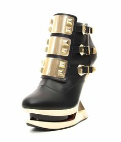 "Hades GLEAM Platform Ankle Boot w Gold Plated Studs and 5"" Iceberg Wedge Bootie #Hades #AnkleBoots"