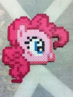Perler beads Pinkie Pie Head  by OtakuLuka on deviantart
