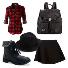 """""""Just a little flannel"""" by sweetheartnectar ❤ liked on Polyvore featuring Eugenia Kim, LE3NO, Neil Barrett, Aéropostale, Proenza Schouler, skirt, Boots, hat, handbag and flannel"""
