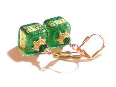 Murano Glass Emerald Green Aqua Cube Gold Earrings, Venetian Jewelry, Leverback Earrings