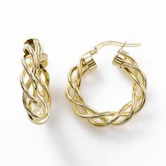 Looping Spiral Open Hoop Earrings, 14K Yellow Gold