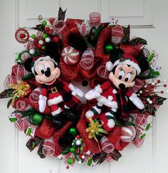 mickey mouse christmas wreath minnie mouse by wreathdesignsbylinda