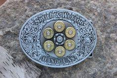 Plata Spinning hebilla de cinturón con 45 cáscaras de ACP, Revolver Smith & Wesson, regalo día del padre, caza, día de San Valentín, munición bala para hombre joyería