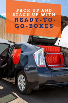 Need to save space in your car? No worries, we're here to help! Ready-To-Go Boxes are built for easy stacking! Moving Crates, Moving Boxes, Ready To Go, Apartment Living, Space Saving, Car, Automobile, Cars, Condo Living