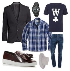 """""""Guys Nite"""" by seldomblonde on Polyvore featuring H&M, Lucky Brand, Wood Wood, Dsquared2, Michael Kors, rag & bone and Invicta"""