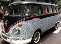 wrapped black and white with a touch of red Volkswagen Bus ☮ #VWBus ☮ pinned by…
