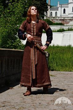 Medieval Mens Costume: Long Tunic and Overcoat Set by armstreet